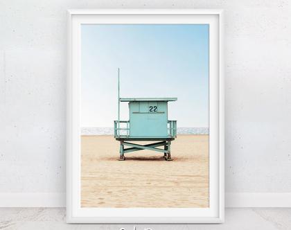 תמונה סוכת מציל | פוסטר חוף הים | חדרי ילדים | תמונות חוף | תמונה לסלון | פוסטר גדול | קליפורניה | תמונות למסגור | תמונת קיץ | סט פוסטרים