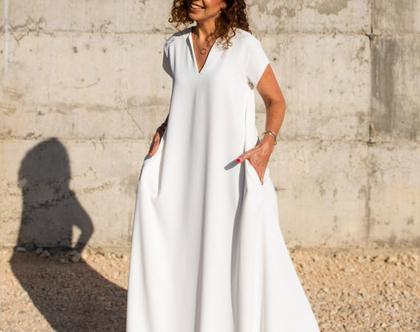 שמלת מקסי לבנה | שמלה קייצית | שמלה יפה ליום יום | שמלה לאירוע | שמלת אוברסייז | שמלה מתרחבת | שמלת בוהושיק | שמלה עם כיסים | 5994