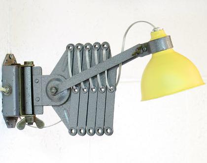 מנורת מספריים תעשייתית מחודשת צהובה, מנורת קיר צהובה, מנורת מסדרון צהובה, מנורת לילה צהובה
