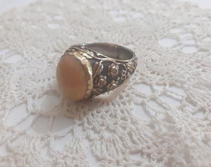טבעת כסף וזהב עם אופל ויהלומים