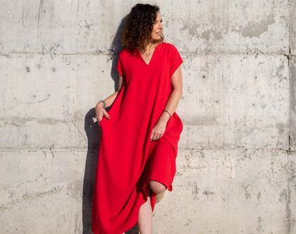 שמלת מקסי אדומה | שמלה קייצית | שמלה יפה ליום יום | שמלה לאירוע | שמלת אוברסייז | שמלה מתרחבת | שמלת בוהושיק | שמלה עם כיסים | 5994