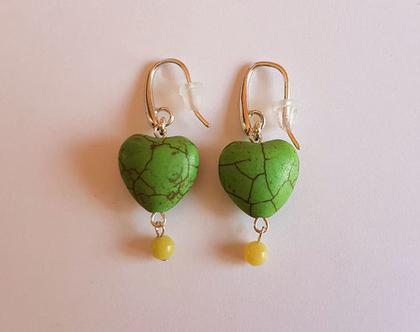 עגילי לבבות ירוקים - עגילים ירוקים - עגילים מעוצבים - עגילי אבני חן וכסף