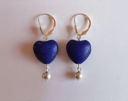 """עגילי לבבות כחולים """"רואייל"""" - עגילים כחולים - עגילים מעוצבים - עגילי אבני חן וכסף"""