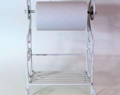 מדף ברזל משולב מתקן לנייר סופג | מדף ברזל מעוצב למטבח | מתקן לנייר סופג