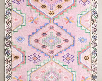 שטיח ורוד בעיצוב מרוקאי, שטיח כותנה ומשי ורוד