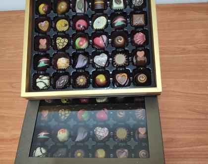מארז מפואר של 30 פרליני שוקולד בלגי בעבודת יד