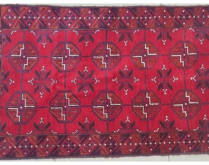 שטיח אפגני פרסי בלוץ צמר עבודת יד תורכמני אתני שבטי ייחודי מקורי מחיר אטרקטיבי גודל 140x82 שטיח לסלון חדר שינה צימר אספנות וינטג'