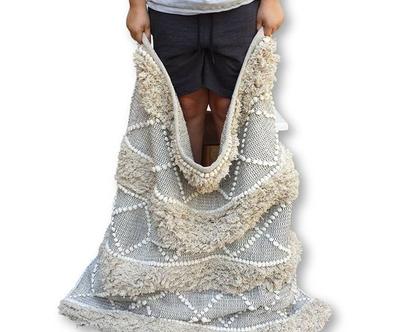 """אזל מהמלאי - שטיח כותנה בסגנון ברברי בז' ואפור שחור מלבני 180*120 ס""""מ"""