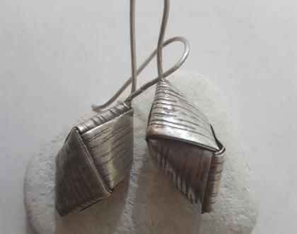 עגילי כסף תלויים אוריגמי
