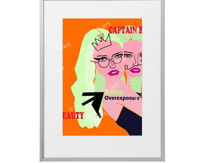 פוסטר פופ ארט, אשה, תמונה מרהיבה, אומנות מיוחדת, אומנות הדפס לבית, אומנות מקורית, הדפס