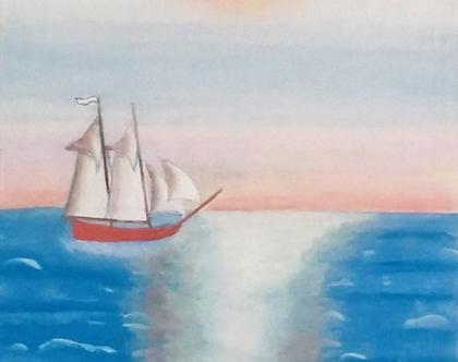ציור - שמש יוקדת במימי הים התיכון