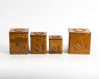 סוכר קפה תה וקמח - סט קופסאות עץ