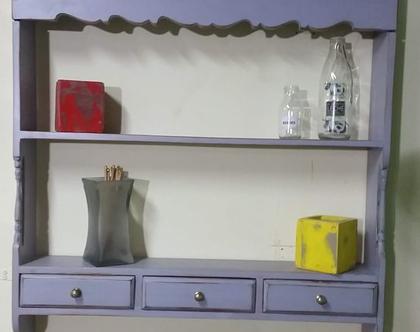 ארונית מדפים פתוחה למטבח, עתיקה מעץ מלא , מחודשת, סגול / אפור מיושן