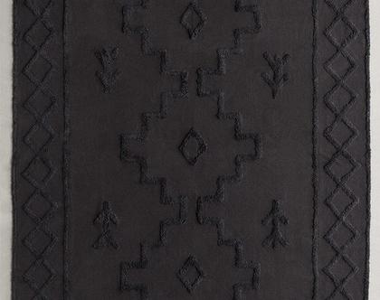 שטיח כותנה נורדי אפור כהה תלת מימדי, שטיח נורדי שחור, שטיח כותנה שחור