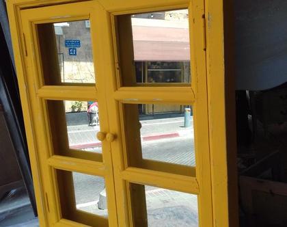 מראת עץ חלון מלבנית צבע צהוב ווש(ניתן לקבל בכל צבע)