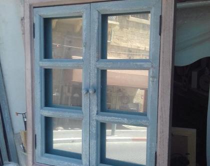 מראת עץ חלון מלבנית צבע תכלת עם ורוד עתיק(ניתן לקבל בכל צבע)