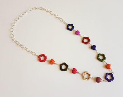 שרשרת פרחים צבעונית - שרשרת - שרשרת צבעונית ארוכה - שרשרת אבני חן
