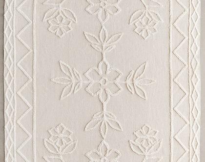 שטיח כותנה תלת מימדי בגוון טבעי, שטיח נורדי, שטיח סקנדינבי