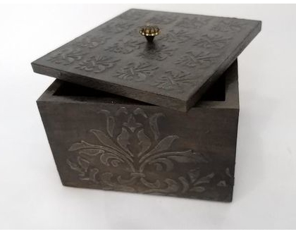 קופסת עץ מעוצבת קטנה | קופסה מעוצבת עם מכסה | קופסת עץ | קופסת תכשיטים