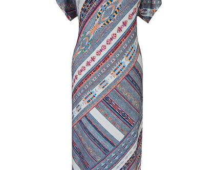 שמלת מקסי בהדפס אינדיאני