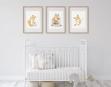 סט פוסטרים ממסוגרים לחדר תינוקות וילדים | תמונת שועל במבי | קישוט לחדר ילדים | תמונה לחדר ילדים | תמונה לחדר תינוקות | פוסטר לחדר ילדים