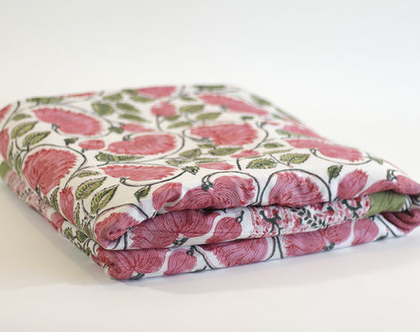 """שמיכת קיץ יחיד דגם """"קורל""""   150X225   שמיכת קיץ מכותנה   שמיכת יחיד   כיסוי מיטה   שמיכה בוהו שיק   שמיכת קיץ דו צדדית"""