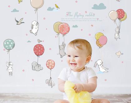 סייל! מדבקות קיר ארנב בלונים לחדר תינוקות | מדבקות קיר לחדר ילדים | מדבקות לחדר בנים | מדבקות לחדר בנות | מדבקות קיר חיות | עיצוב חדר ילדים