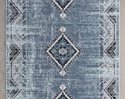 שטיח גאומטרי כחול מעושן