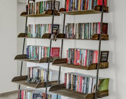 ספרייה סולם 5 מדפים עץ מלא