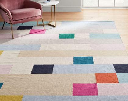 שטיח אבסטרקטי צבעוני, שטיח צבעוני מפוקסל, שטיח כותנה צבעוני, קילים מפוקסל