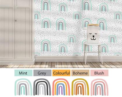 טפט מבוסס בד להדבקה קלה דגם Rainbow מגוון צבעים לבחירה