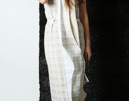 שמלת מקסי Verve פשתן משבצות