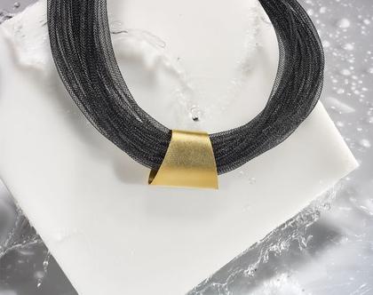 שרשרת Embrace . שילוב של שבע רשתות פולימר וצינור ציפוי זהב 24 K