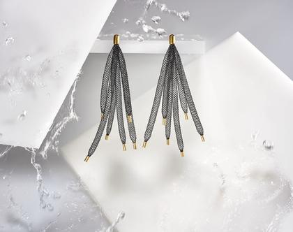 עגיל 6 רשתות שחור עם גולדפילד ארוך ומרשים