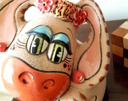 """פסלון קופת חיסכון - חמור חמוד חבר של פו הדוב - קרמיקה. עבודת יד . מק""""ט 1197"""