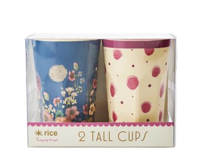 סט 2 כוסות מלמין לאטה צבעי מים ורוד ופרחים   RICE DK   SOFI