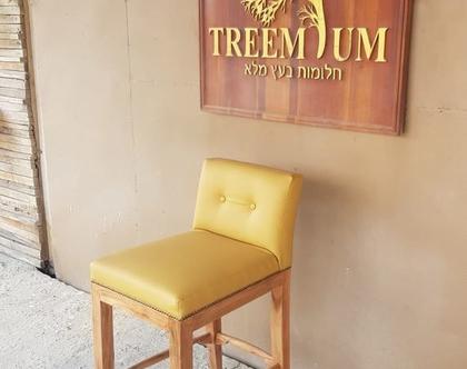 כיסא בר מבנה עץ מלא