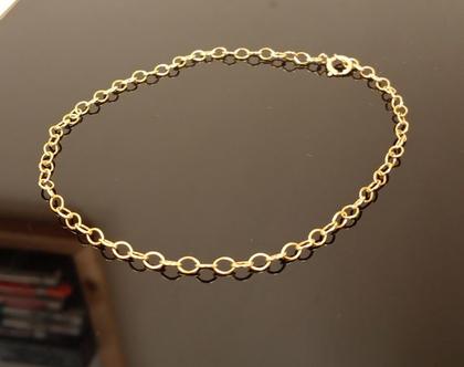 צמיד זהב 14Kלרגל,קרסול יוקרתי ואיכותי לגבר או לאישה