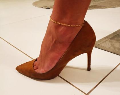 צמיד זהב לרגל חוליות 14k קארט יוקרתי ואיכותי לגבר או לאישה