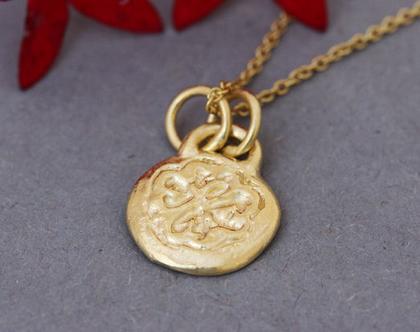 תליון זהב צהוב 14K, שרשרת זהב מעוטרת, תליון תלתן מזל, שרשרת מטבע עתיק, שרשרת זהב לאישה, תליון זהב מיוחד, תליון עדין, שרשרת למזל, תליון מעוצב