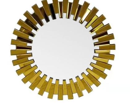 מראה קריסטל זהב עם מסגרת מראות קוטר 80 ס״מ