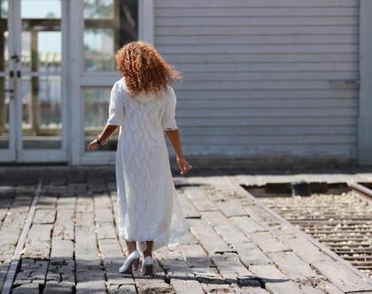 שמלה לבנה | שמלה צנועה | שמלה לחג