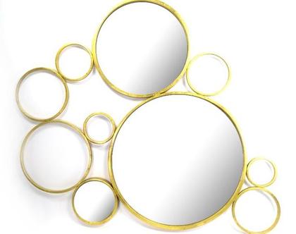 קולאז׳ מראות זהב בגדלים שונים 118/100 ס״מ