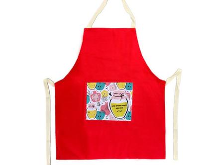 סינר כותנה איכותי למטבח - צבע אדום - עם הדפסה אישית על כיס הסינר | סט ראש השנה
