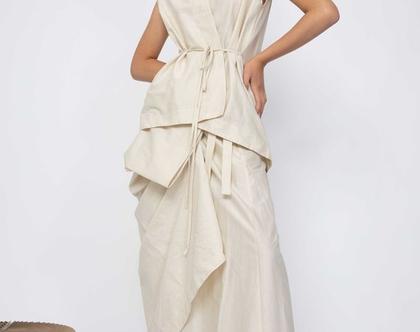 חצאית מעטפת   חצאית בהירה  חצאית כותנה