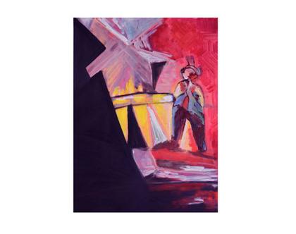 ציור שמן אבסטרקט לסלון,ציור ליצן בגוונים אדום כחול, ציור אווירה,אומנות מקורית מיוחדת, ציור מרהיב, תמונת קנווס לסלון, אומנות הדפס מרהיב לסלון