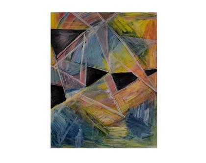 ציור שמן אבסטרקט לסלון,ציור בגווני כחול צהוב שחור, ציור אווירה,אומנות מקורית מיוחדת, ציור מרהיב, תמונת קנווס לסלון, אומנות הדפס מרהיב לסלון