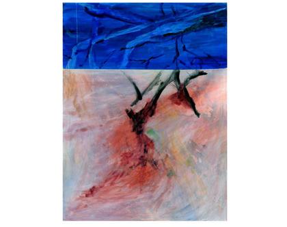 ציור שמן אבסטרקט לסלון,ציור בגוונים כחול ואדום, ציור אווירה,אומנות מקורית מיוחדת, ציור מרהיב, תמונת קנווס לסלון, אומנות הדפס מרהיב לסלון