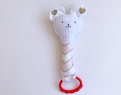 משחק התפתחות | רעשן לתינוק | בובת ארנב | בובת חתול | נשכן | בובה לתינוק | דובי ורוד זגזג לבבות זהב