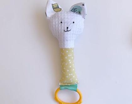 משחק התפתחות | רעשן לתינוק | בובת ארנב | בובת חתול | נשכן | בובה לתינוק | חתול צהוב